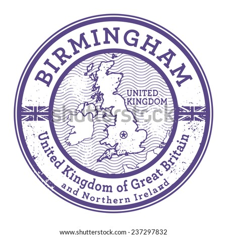 Grunge rubber stamp with words United Kingdom, Birmingham inside, vector illustration