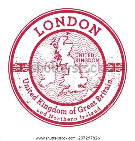 Grunge rubber stamp with words United Kingdom, London inside, vector illustration - stock vector