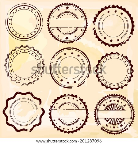 Grunge rubber stamps and decorative stickers icons, set, graphic design elements, isolated on vintage pink background, vector illustration.