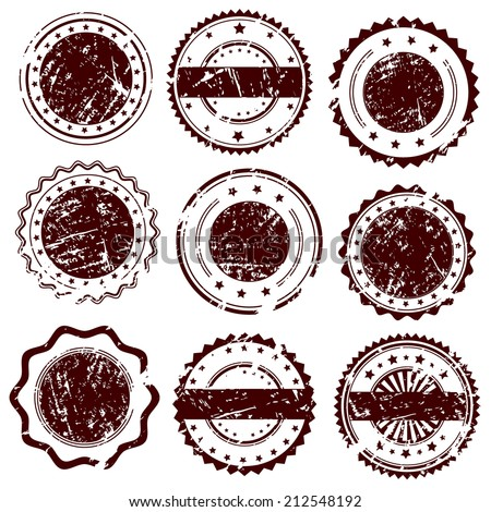 Grunge rubber stamps and stickers icons, set, graphic design elements, isolated on white background, vector illustration. - stock vector