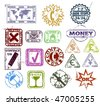 Grunge rubber stamps: customer support and contact, internet, money and package pictogram - stock photo