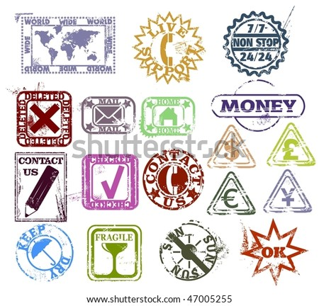 Grunge rubber stamps: customer support and contact, internet, money and package pictogram - stock vector