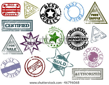 Grunge rubber stamps. Easy to change colors. - stock vector