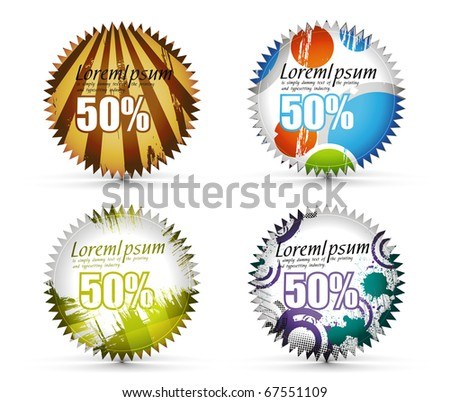 Grunge sale tag set Isolated on white, vector illustration.