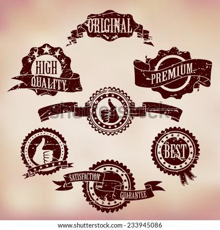Grunge Scratched Badges on Vintage background - stock vector