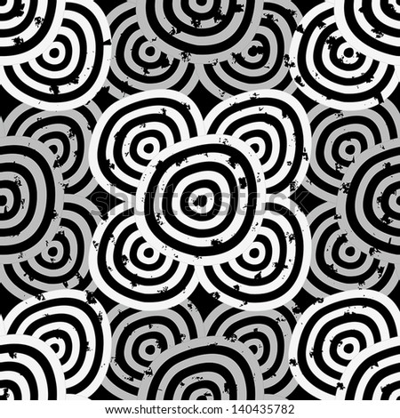 Grunge Seamless background - hypnotic black and white circles. EPS10 vector. - stock vector