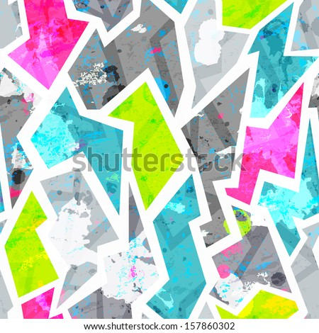 grunge seamless pattern with blots effect - stock vector