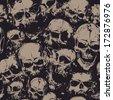 Grunge seamless pattern with skulls. Vector illustration. - stock