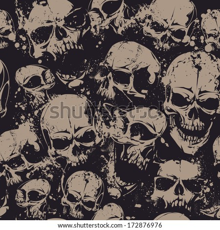 Grunge seamless pattern with skulls. Vector illustration. - stock vector