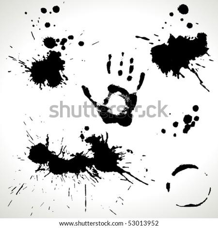 Grunge set of inky splashes - stock vector