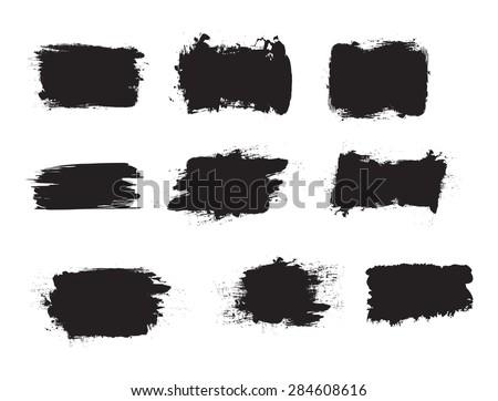 Grunge shapes, set, black isolated on white background, vector illustration. - stock vector