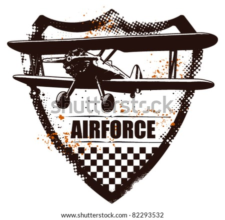 grunge shield with plane - stock vector