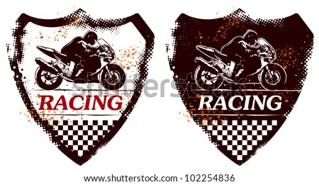 grunge shield with racing super bike and rider - stock vector