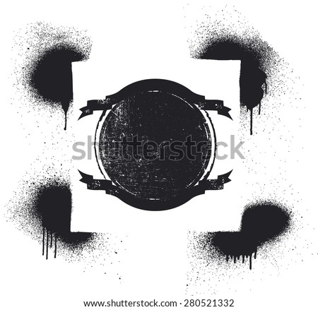 grunge shield with stencil frame - stock vector