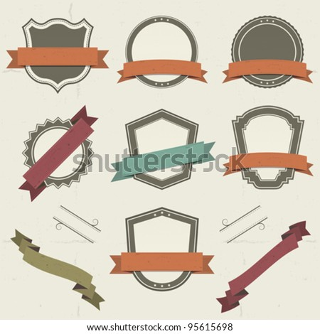 Grunge Shields, Labels And Banners/ Illustration of a collection of vintage shields and other badges with banners, labels, ribbons for holidays and celebrations - stock vector