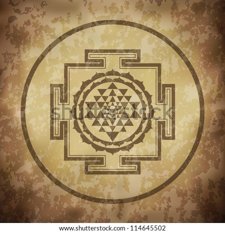 Grunge Shree Yantra Design (EPS10 Vector) - stock vector