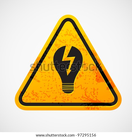 Grunge sign with the light bulb - stock vector