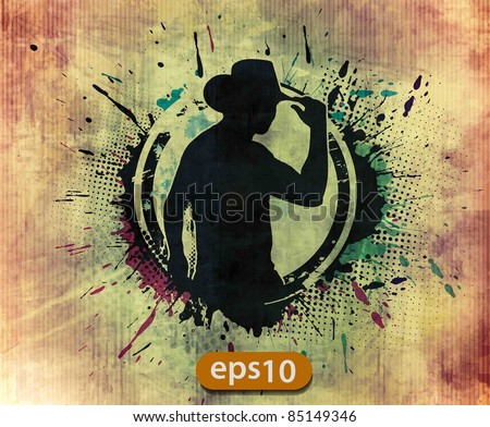 grunge silhouette of a cool cowboy, vector illustration - stock vector