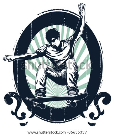 grunge skate shield with rider in the air - stock vector