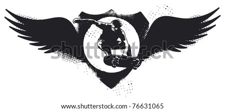 grunge skate shield with wings - stock vector