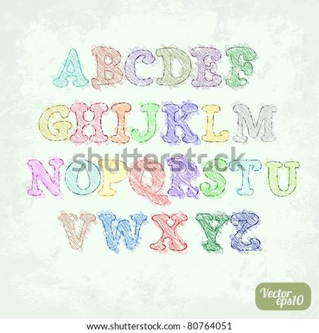 Grunge sketch alphabet (hand-drawn doodle design) - stock vector