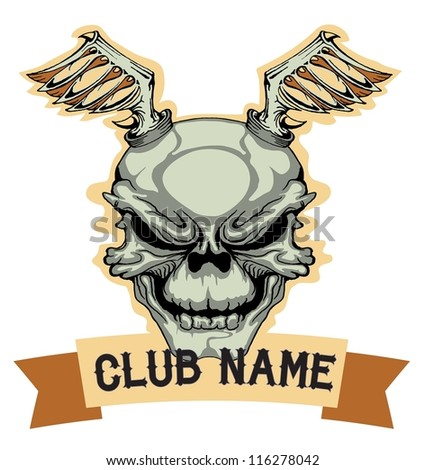 grunge skull club name emblem with wings - stock vector