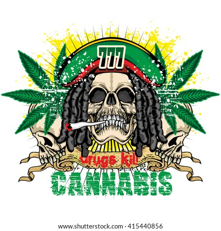 grunge skull with cannabis leaf coat of arms - stock vector