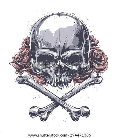 Grunge skull with crossed bones and roses. Vector art.  - stock vector