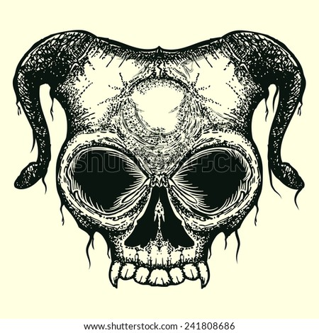 grunge skull with horn isolated - stock vector