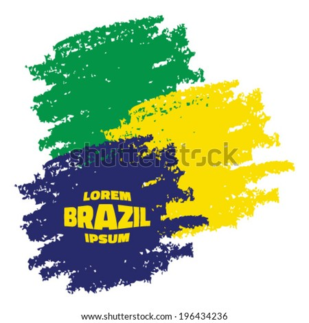 Grunge Smears, using Brazil flag colors. Vector illustration  - stock vector