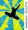 grunge snowboarding vector - stock vector