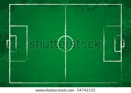 Grunge soccer field with chalk drawn lines. - stock vector