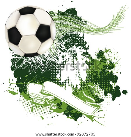 Grunge soccer poster with ribbon and soccer ball - stock vector