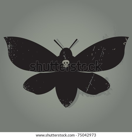 Grunge spooky butterfly - stock vector