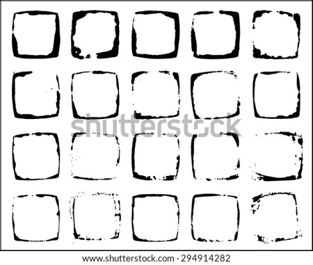 Grunge square black traces of wet cup - stock vector
