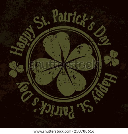 Grunge St. Patrick Day background, vector illustration - stock vector