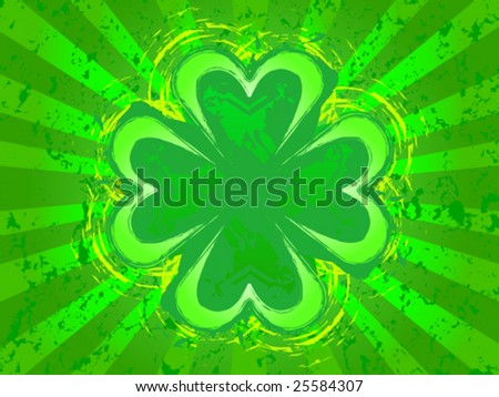 Grunge St. Patrick's Clover design - on vector version all elements are independent and can be reused - stock vector