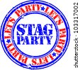 Grunge stag party rubber stamp, vector illustration - stock vector
