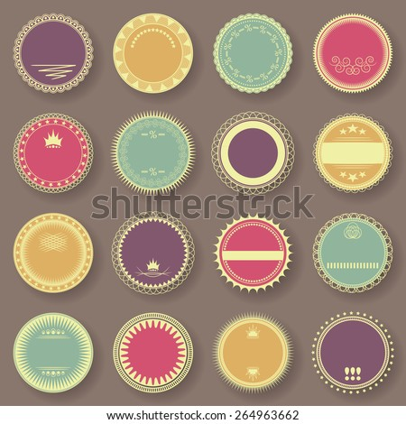Grunge stamp collection. Set of templates of labels. Bright colors