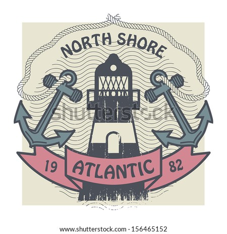 Grunge stamp or label with lighthouse and the words North Shore, Atlantic, written inside, vector illustration - stock vector