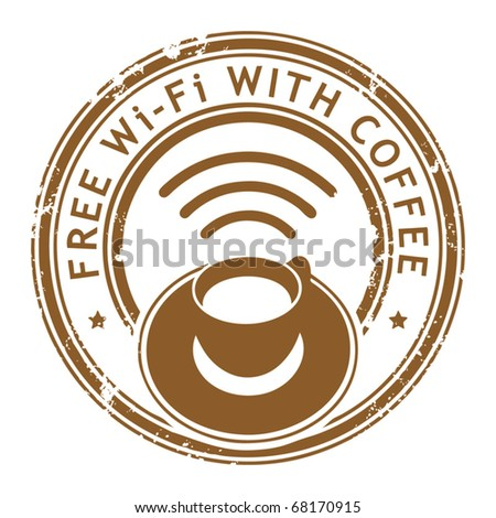 Grunge stamp with coffee cup and the text Free Wi-Fi with Coffee written inside the stamp, vector illustration - stock vector