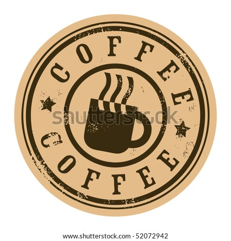 Grunge stamp with coffee cup, vector illustration - stock vector