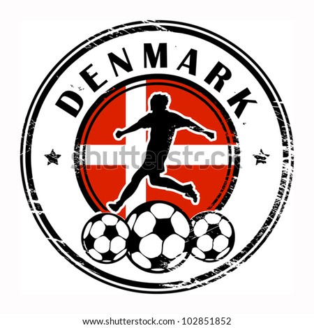 Grunge stamp with football and name Denmark, vector illustration - stock vector