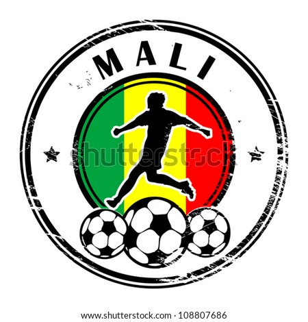 Grunge stamp with football and name Mali, vector illustration - stock vector
