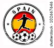 Grunge stamp with football and name Spain, vector illustration - stock vector