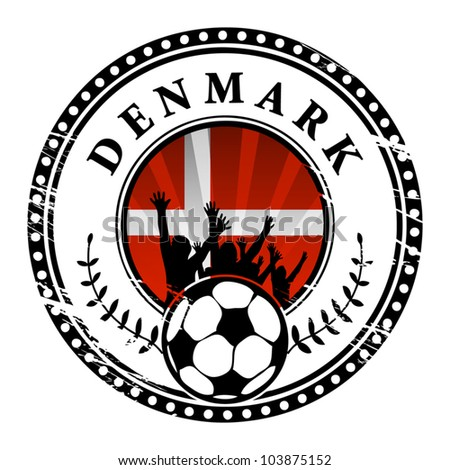 Grunge stamp with football fans and name Denmark, vector illustration - stock vector