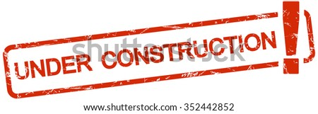 grunge stamp with frame colored red and text under construction - stock vector
