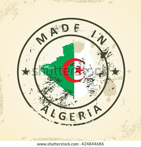 Grunge stamp with map flag of Algeria - vector illustration - stock vector