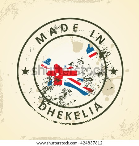 Grunge stamp with map flag of Dhekelia - vector illustration