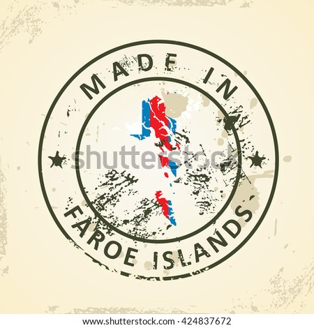 Grunge stamp with map flag of Faroe Islands - vector illustration - stock vector